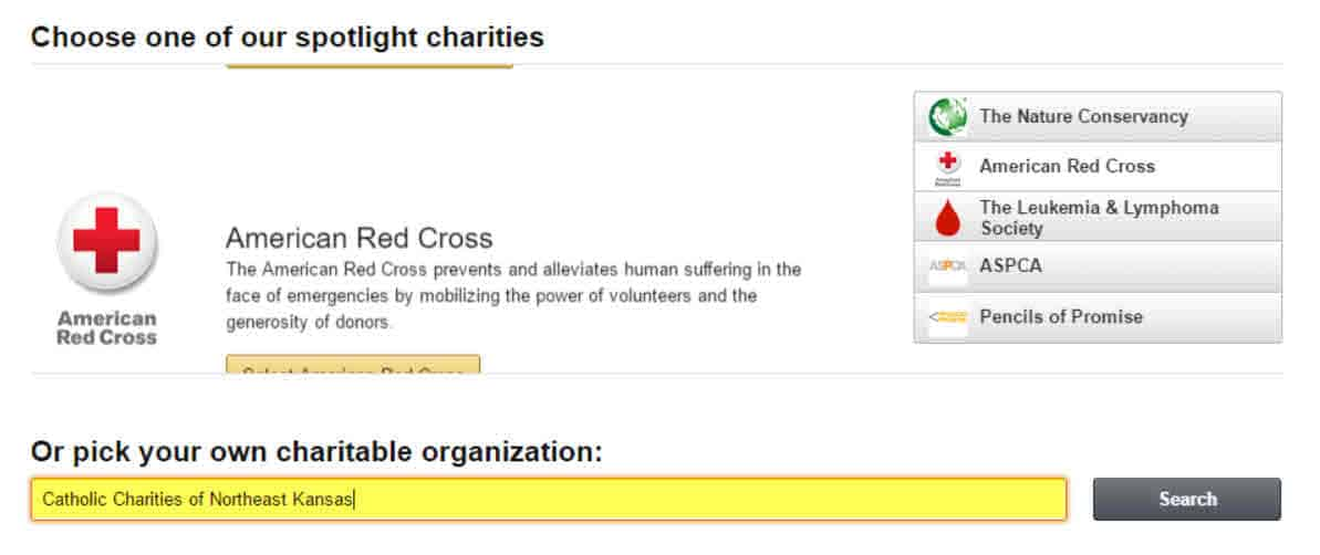 Amazon Smile - choose a charity