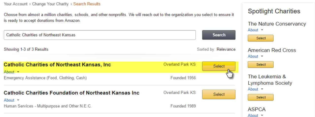 Amazon Smile - select Catholic Charities of Northeast Kansas
