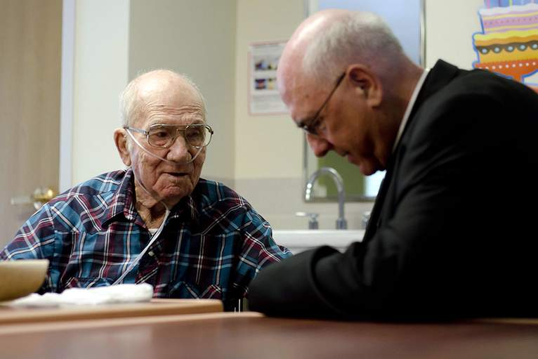 Archbishop Naumann Visits Catholic Community Hospice