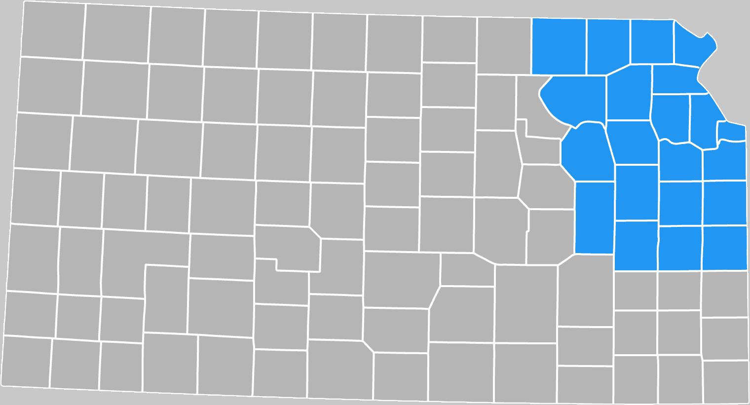 Catholic Charities service area map - 21 counties of northeast Kansas