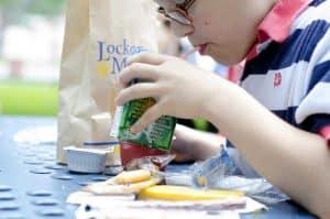 Children receiving food from the Kids Summer Food program