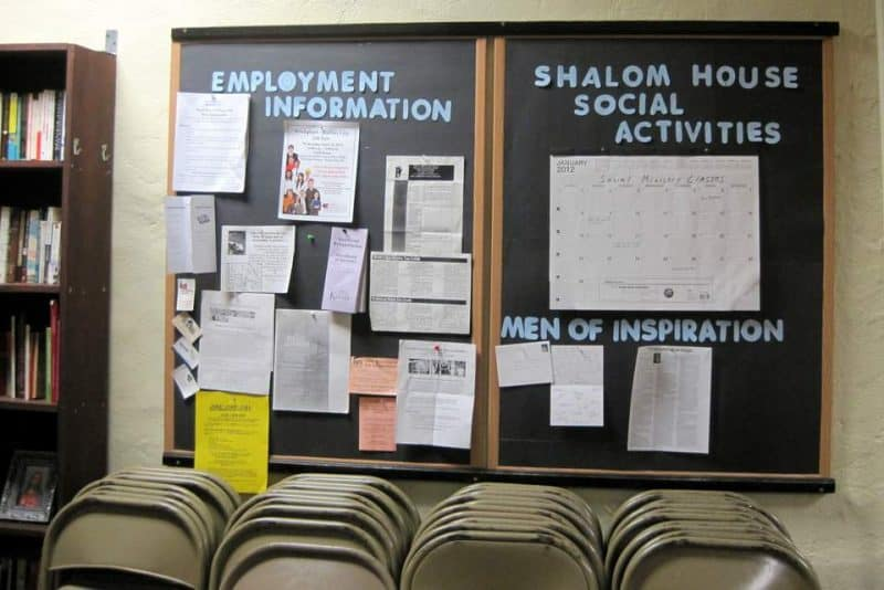 Bulletin Board at Shalom House Men's Shelter in KCK
